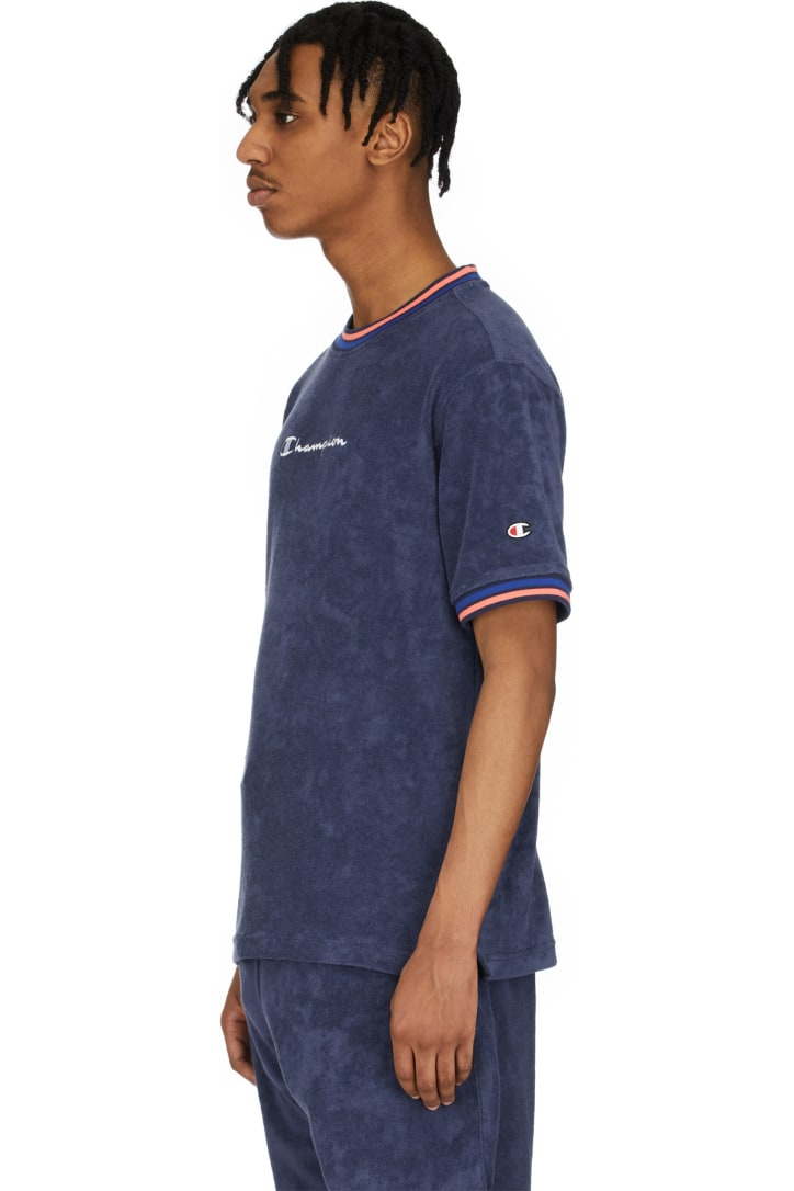 Champion Imperial indigo Terry Script Logo T-Shirt