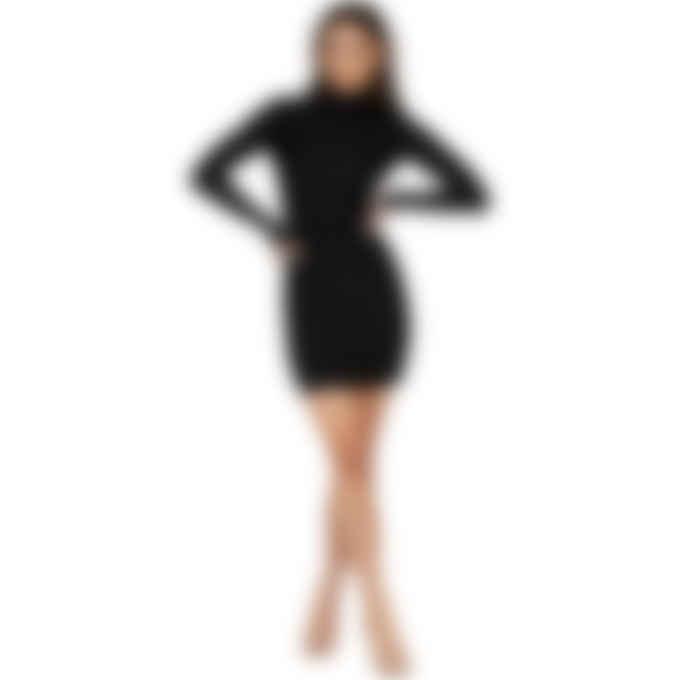 MISBHV - Velour Monogram Long Sleeve Dress - Black
