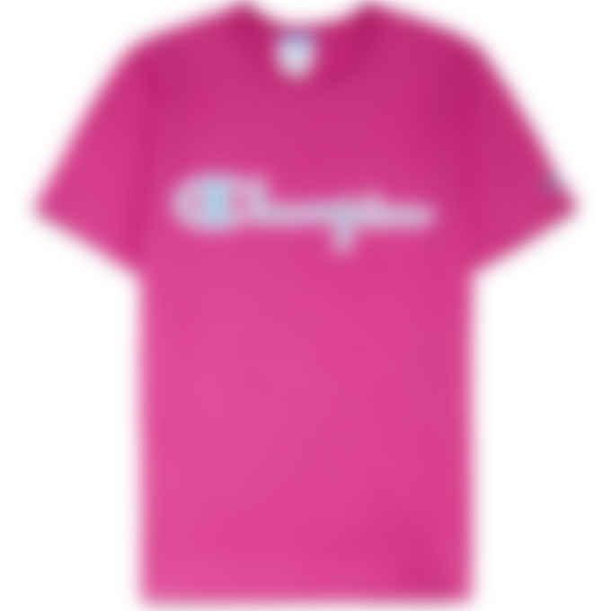 Champion - Heritage Chainstitch Script Logo T-Shirt - Peony Parade Pink