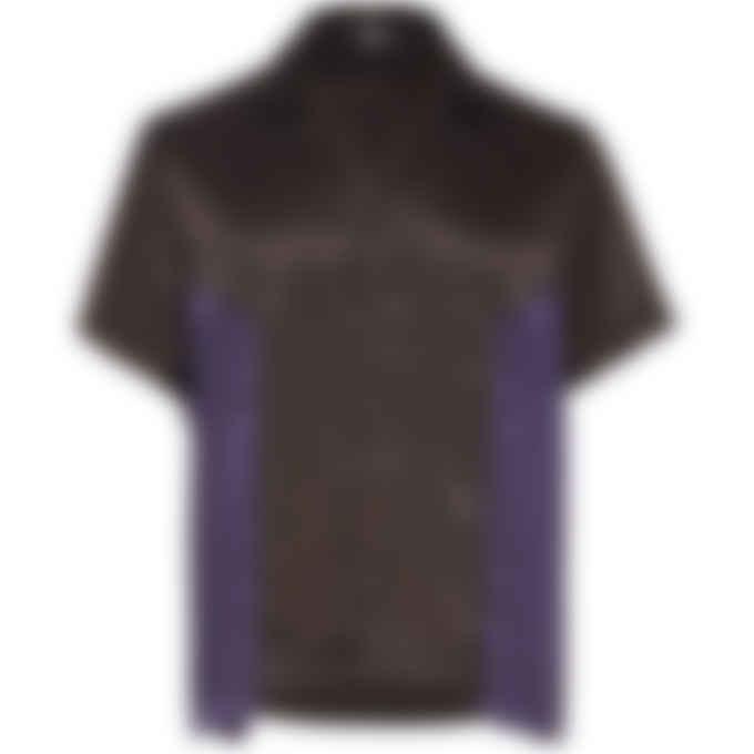Malice Studios - Satin Paradise Button Up Shirt - Brown/Purple