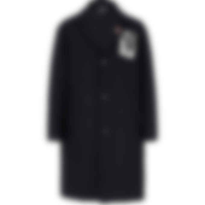 Fred Perry x Raf Simons - Raf Simons Printed Patch Wool Coat - Black