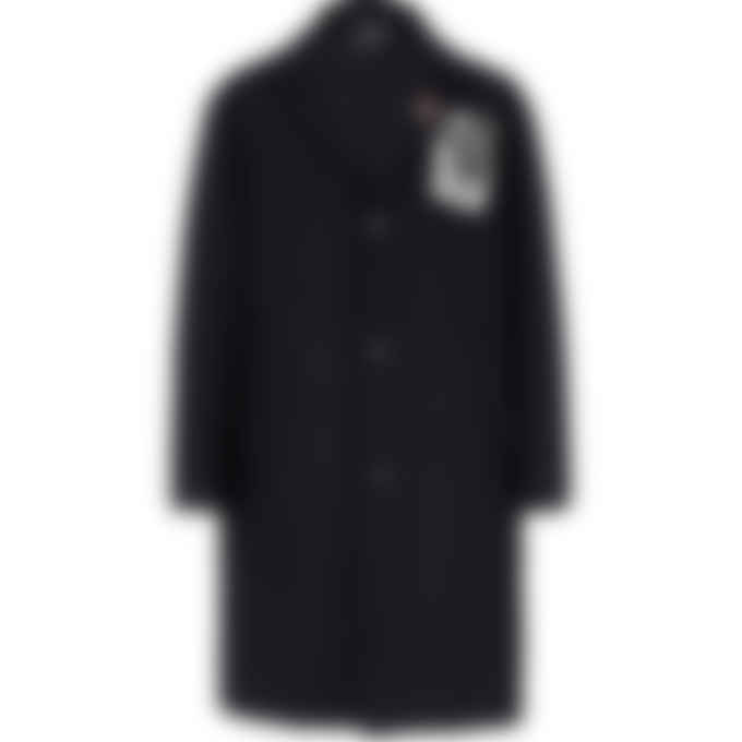 Fred Perry x Raf Simons - Raf Simons Printed Patch Wool Coat - Black