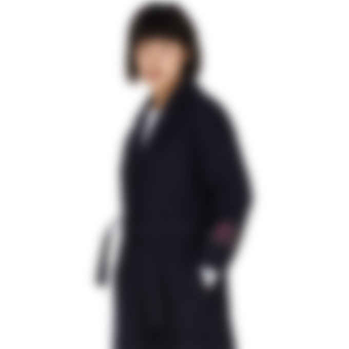 MSGM - Lettering Rose Wool Coat -  Navy