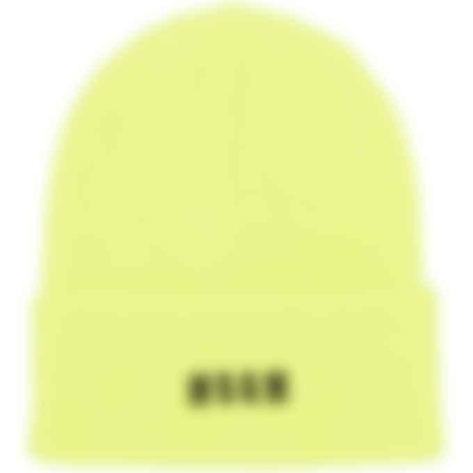 MSGM - Micro Logo Docker Beanie - Neon Yellow