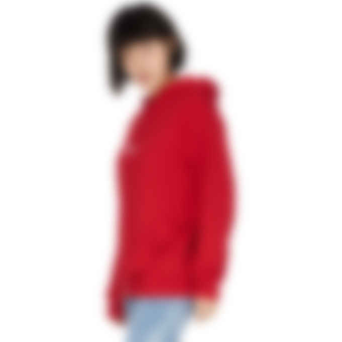 MSGM - Ruffles Embroidered Micro Logo Hoodie - Red
