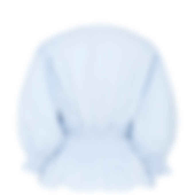 MSGM - Striped V-Neck Blouse - Sky Blue