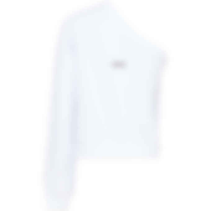 MSGM - One Shoulder Micro Logo Pullover Sweater - White