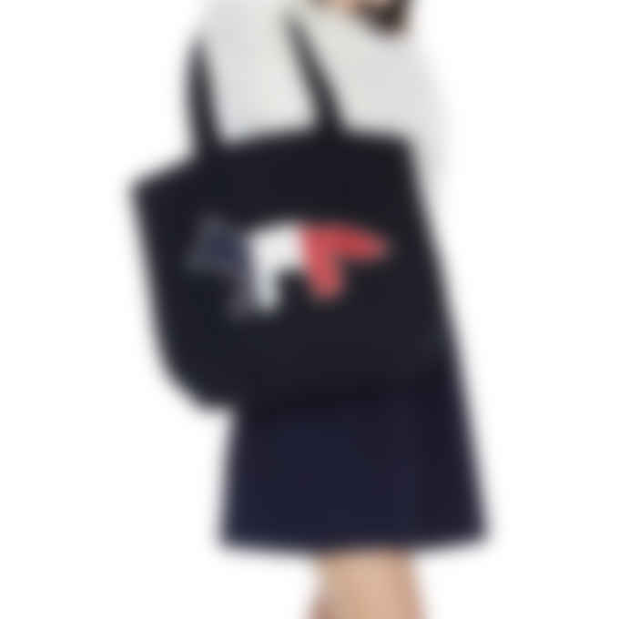 Maison Kitsuné - Tricolor Fox Tote Bag - Navy
