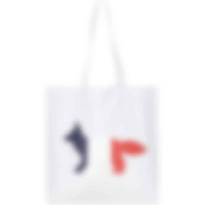 Maison Kitsuné - Tricolor Fox Tote Bag - White