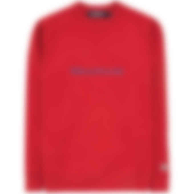 Billionaire Boys Club - Embroidered Serif Logo Crew Pullover Sweater - Red