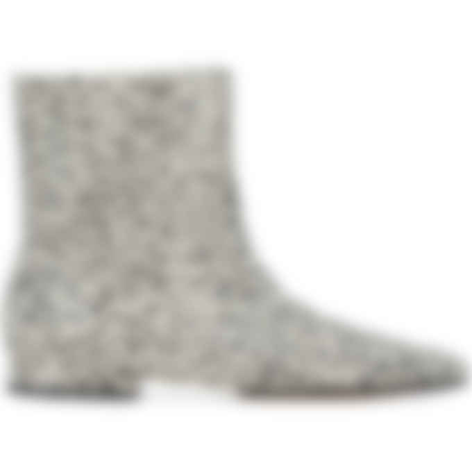 Kenzo - K-Line Soft 'Leopard' Leather Mid Boots - Ecru