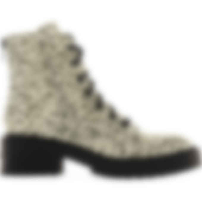 Kenzo - Pike Leopard Leather Lace Up Boots - Ecru