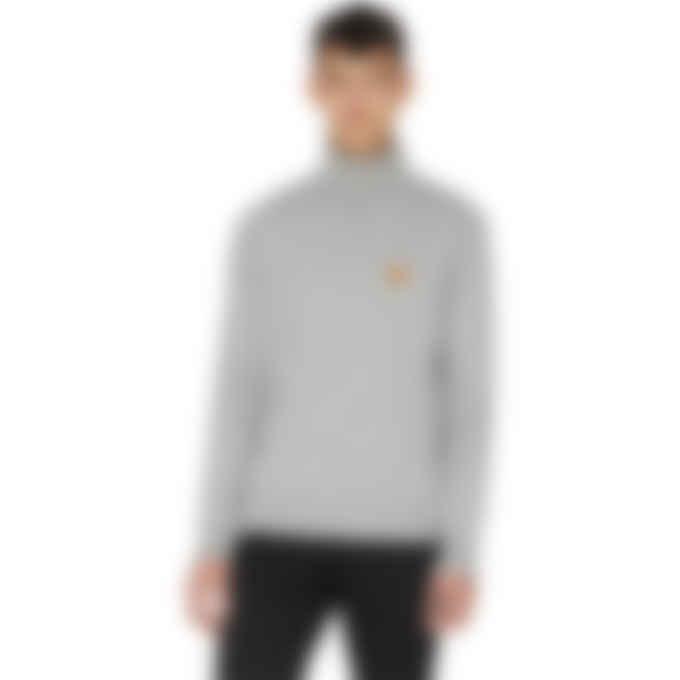 Kenzo - Tiger Crest Knit Turtleneck Pullover Sweater - Dove Grey