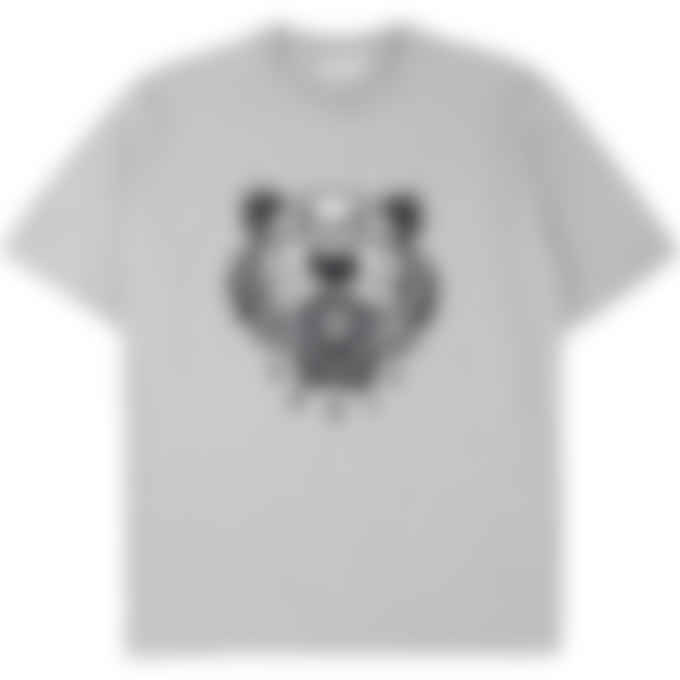 Kenzo - Embroidered Flocked Tiger T-Shirt - Pearl Grey