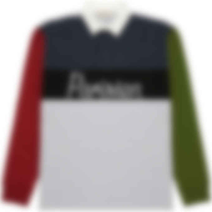 Maison Kitsuné - Parisien Colorblock Rugby Polo Sweater - Grey Melange