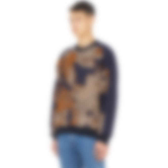 Y-3 - Camo Knit Crew Neck Pullover Sweater - Multicolor/Victory Blue