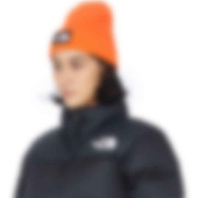 The North Face - Logo Box Cuffed Beanie - Red Orange
