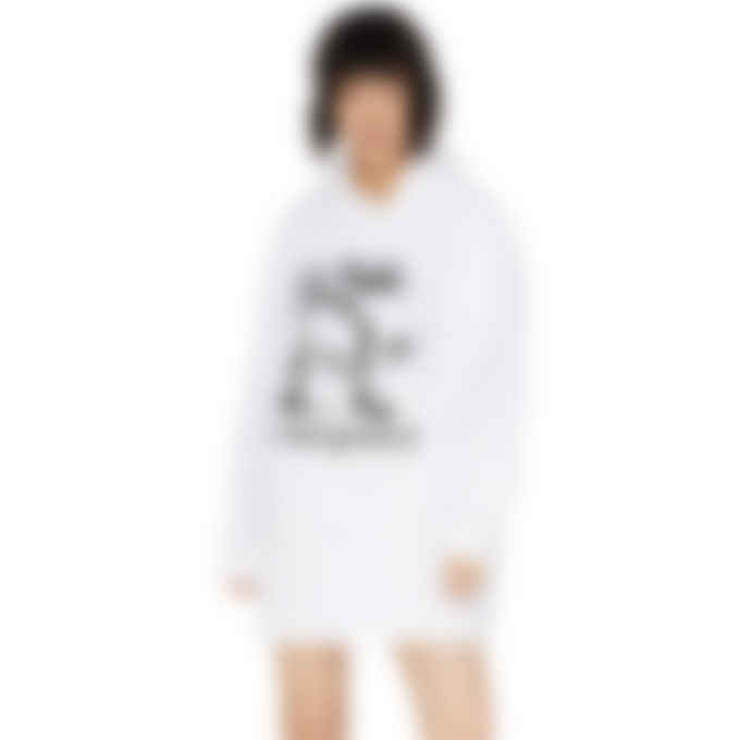 MM6 Maison Margiela - Oversized Logo Hoodie Dress - White