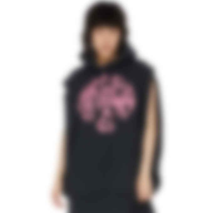 MM6 Maison Margiela - Oversized Cut Off Logo Circle Hoodie - Black