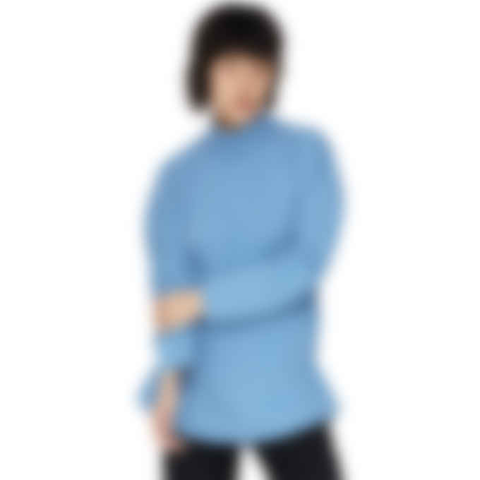 MM6 Maison Margiela - Mock Neck Circle Pullover Sweater - Blue