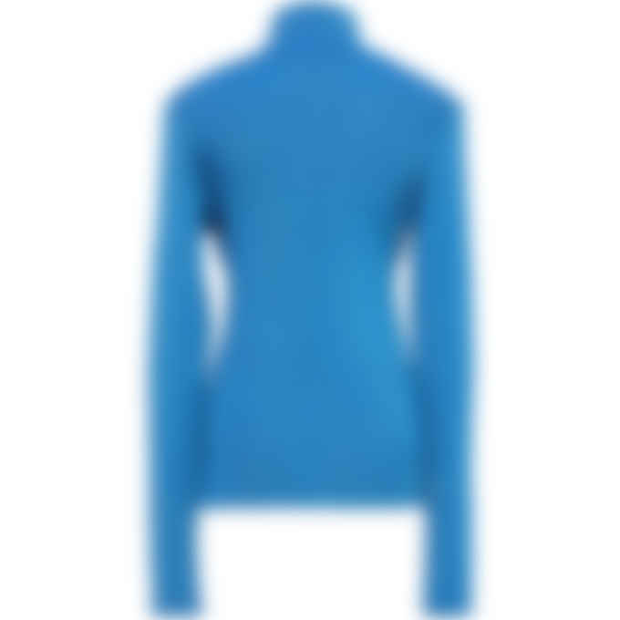 MM6 Maison Margiela - Ribbed Polo Neck Top - Bright Blue