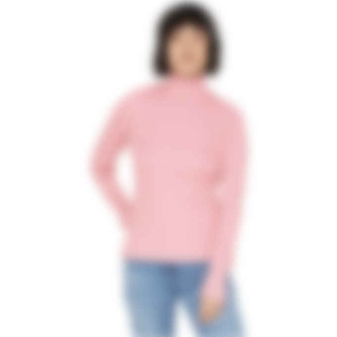 MM6 Maison Margiela - Ribbed Polo Neck Top - Bright Pink