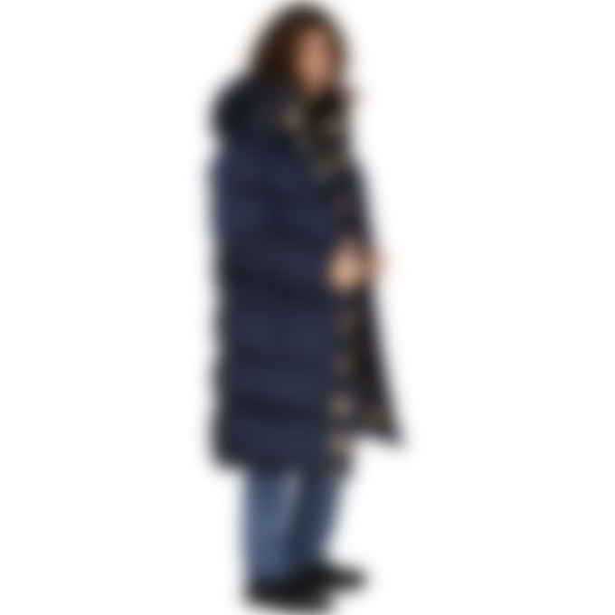 Dsquared2 - Check Wool Long Puffer Coat - Navy