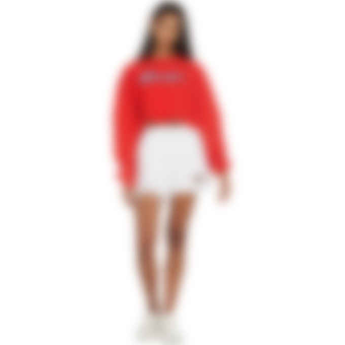 Champion - Reverse Weave Script Logo Cropped Cut Off Sweater - Red Flame
