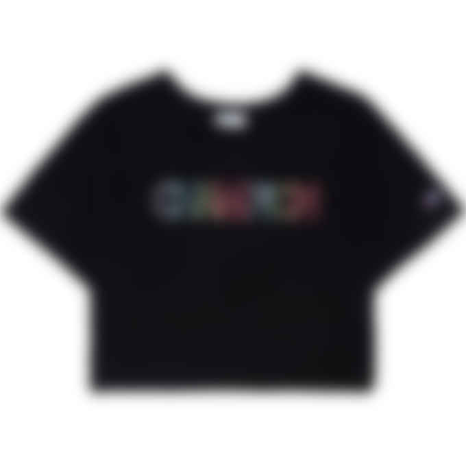 Champion - Overlap Block Heritage Crop Logo T-Shirt - Black