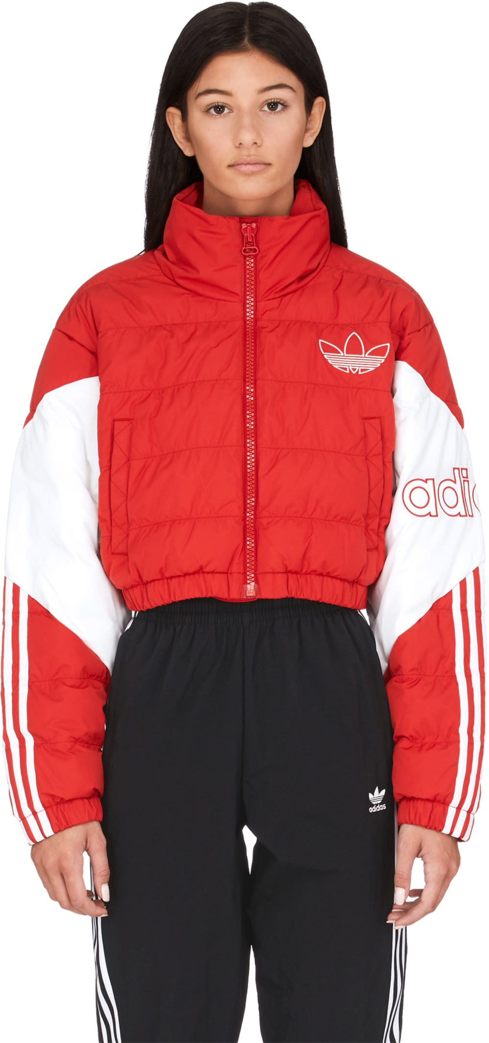 adidas Originals Cropped Puffer Jacket ScarletWhite